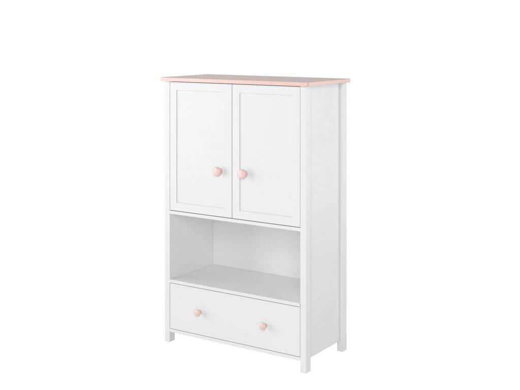 biała komoda z dwojgiem drzwi, otwartą półką i szufladą