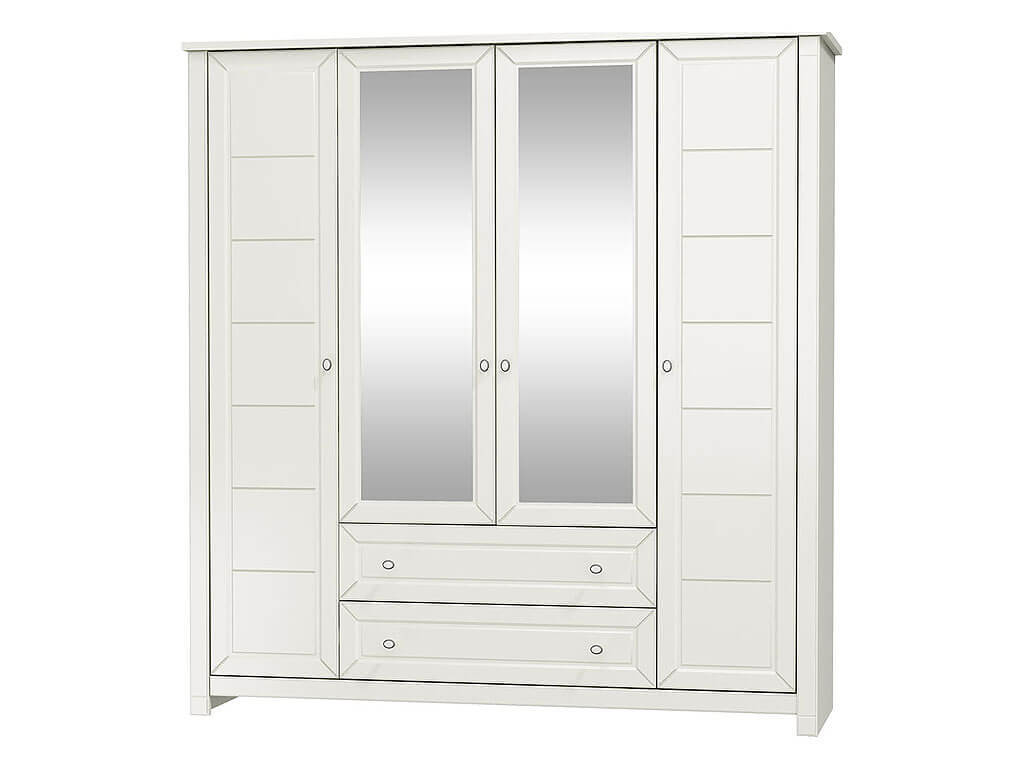 biała szafa z lustrem