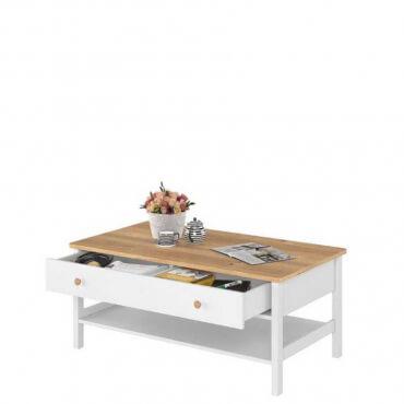 stolik kawowy z półką i szufladą
